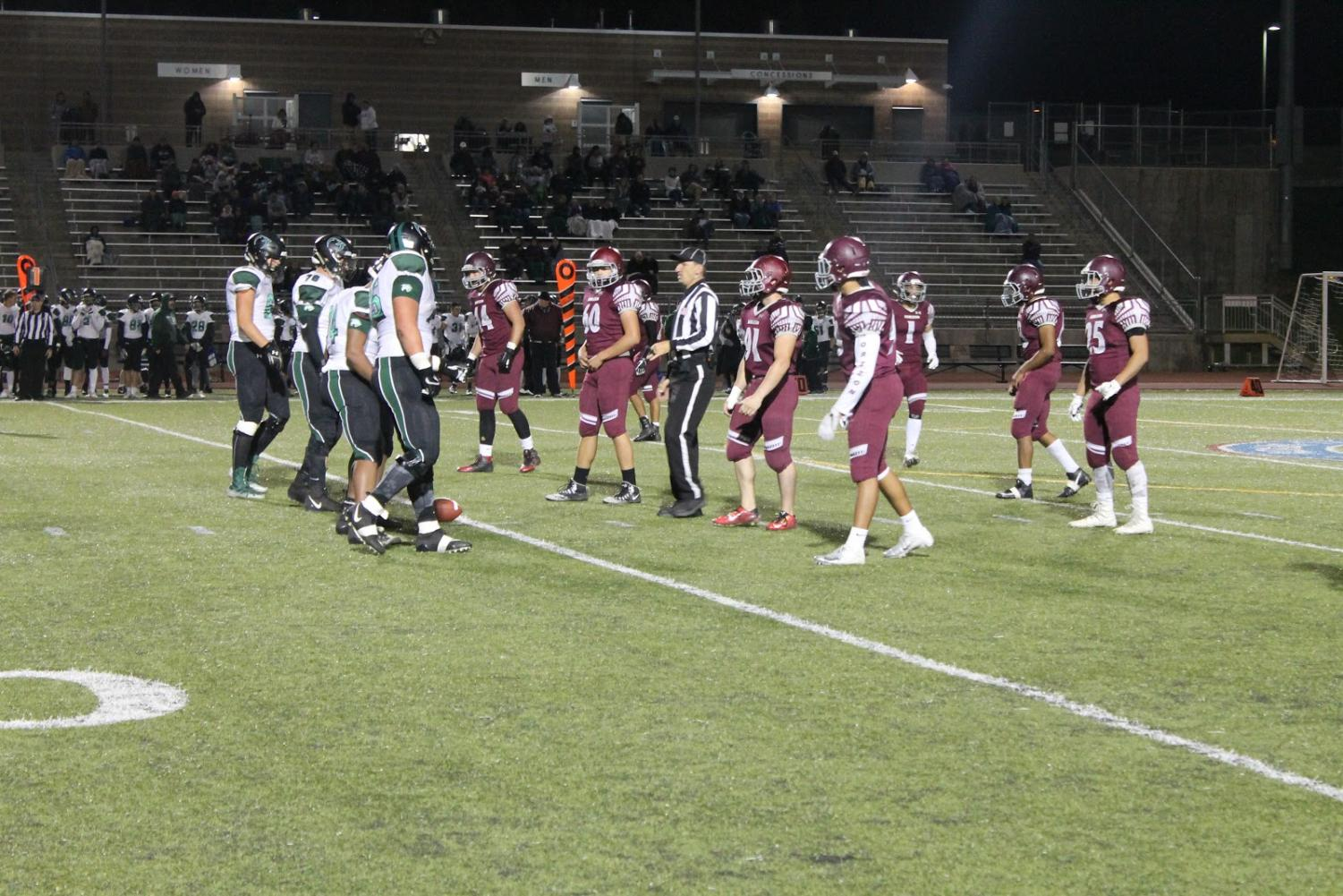 Horizon's defensive line, ready to take on Fossil Ridge's offense during the homecoming game