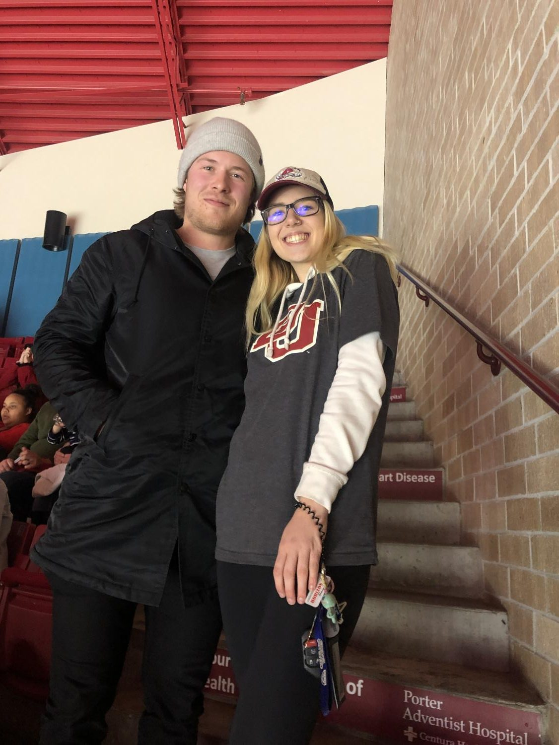 Peyton East with Brock Boeser, University of North Dakota Alumni who currently plays in the NHL